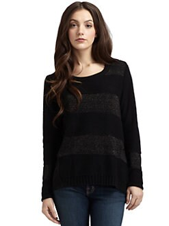 Qi New York - Cashmere Shimmer-Striped Sweater