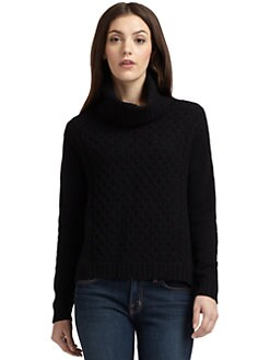 Qi New York - Cashmere Honeycomb Turtleneck Sweater