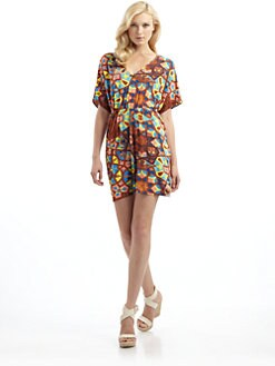 Tibi - Caftan Dress in Tile Mosaic-Print Jersey