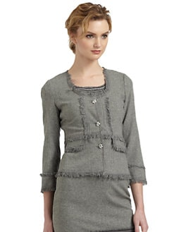 Rebecca Taylor - Frayed Detail Rhinestone Button Jacket