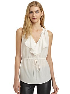 Rebecca Taylor - Silk Ruffle Detail Drawstring Blouse