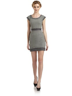 Rebecca Taylor - Frayed Chainlink Detail Sheath Dress