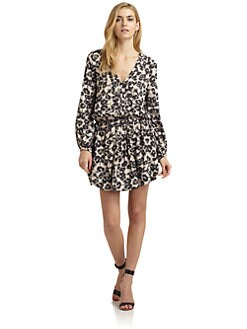 Rebecca Taylor - Leopard Drawstring Waist Dress