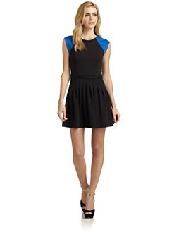 Rebecca Taylor - Colorblock Cap Sleeve Pleated Dress