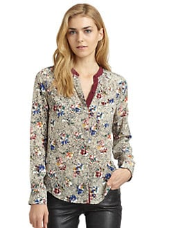 Rebecca Taylor - Inky Silk Floral Blouse