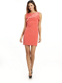 Hanii Y - Ruffle Front Sheath Dress/Coral