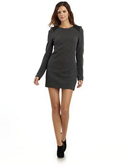Hanii Y - Plunge Back Wool Sheath Dress/Grey