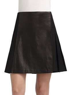 Elizabeth and James - Leather-Paneled Pleated Skirt