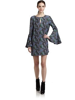 Elizabeth and James - Silk Paisley-Print Babydoll Dress