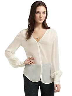 Elizabeth and James - Silk Crepe Button-and-Loop Blouse