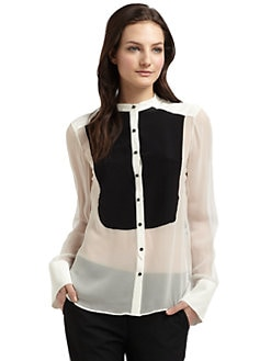 Elizabeth and James - Silk Two-Tone Tuxedo  Blouse