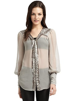Elizabeth and James - Sequined Silk Chiffon Blouse
