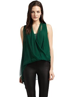 Elizabeth and James - Silk Surplice Sleeveless Blouse