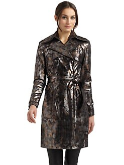 Catherine Malandrino - Metallic Print Double-Breasted Leather Jacket