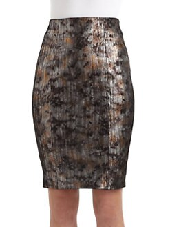 Catherine Malandrino - Metallic Print Leather Skirt