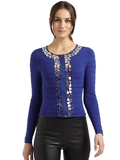 Catherine Malandrino - Stone-Embellished Knit Cardigan
