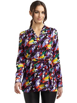 Catherine Malandrino - Printed Stretch Silk Tie-Waist Tunic