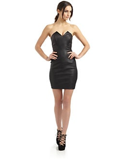 Catherine Malandrino - Strapless Leather & Ponte Dress