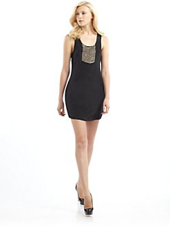 ADDISON - Silk Chain Mail Mini Dress/Black