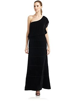 Giorgio Armani - Velvet Draped One-Shoulder Gown