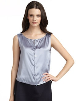 Giorgio Armani - Sleeveless Button Front Silk Blouse