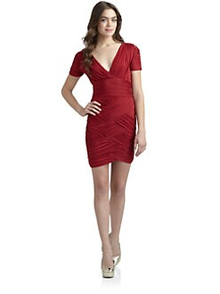 Halston Heritage - Ruched V-Neck Dress