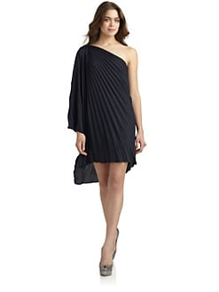Halston Heritage - Pleated Draped Shoulder Dress