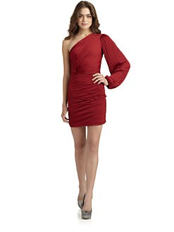 Halston Heritage - Pleated One-Sleeve Cocktail Dress