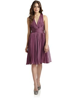 Halston Heritage - Pleated Crossback Cocktail Dress