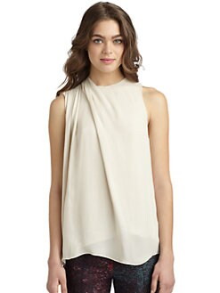 Halston Heritage - Silk Chiffon Pleated Shoulder Blouse