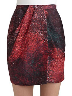 Halston Heritage - Silk & Wool Confetti Mock Wrap Skirt