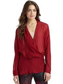 Halston Heritage - Sheer Draped Chiffon Blouse