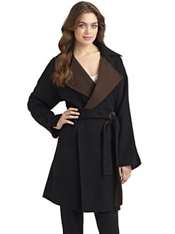 Halston Heritage - Bicolor Knit Trenchcoat