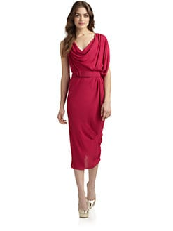 Halston Heritage - Draped Belted Cowlneck Dress