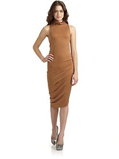 Halston Heritage - Mockneck Gathered Dress