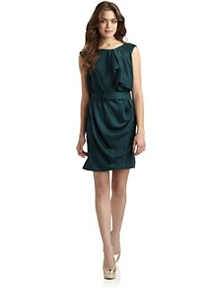 Halston Heritage - Satin Ruffled Boatneck Dress