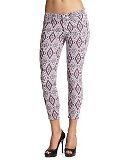 7 For All Mankind - Ikat-Print Cropped Skinny Jeans