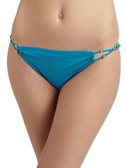 Carmen Marc Valvo - Beaded & Braided Strap Bikini Bottom