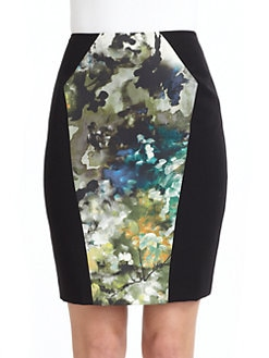 Black Halo - Tory Floral Watercolor Contrast Skirt