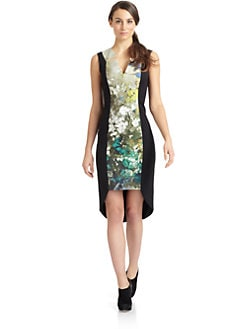Black Halo - Dublen Floral Watercolor Cocktail Dress