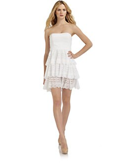 Cynthia Steffe - Tiered Eyelet Dress/White