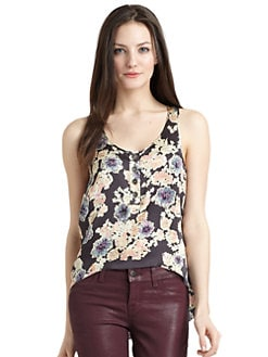 Gryphon - Silk Satin Floral Hi-Lo Top