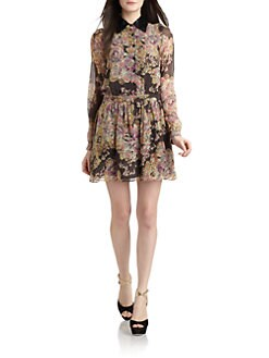 Gryphon - Silk Chiffon Floral Shirt Dress