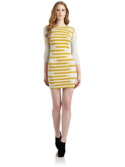 Gryphon - Cotton & Cashmere Broken Stripe Sweater Dress