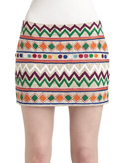 Gryphon - Cotton & Silk Zigzag Mini Skirt