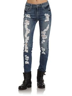 SOLD Design Lab - Distressed Skinny Leg Denim Jeans