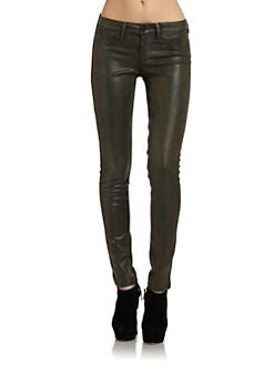 SOLD Design Lab - Soho Crocodile-Print Skinny Jeans