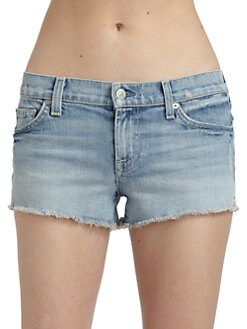 7 For All Mankind - Faded Denim Cut-Off Shorts