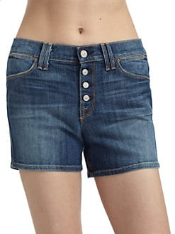 7 For All Mankind - Biancha Button-Fly Faded Denim Shorts