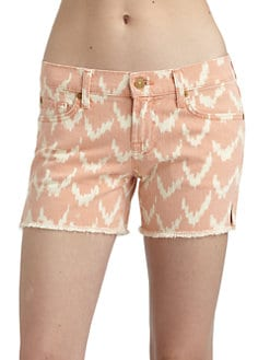 7 For All Mankind - Charlie Ikat Denim Cut-Off Shorts